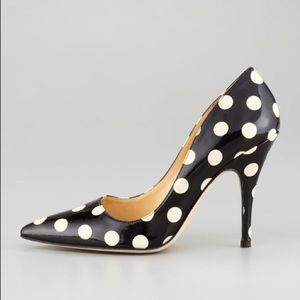 Kate Spade licorice polka dot patent leather pumps